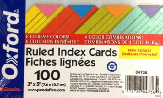 Image For INDEX CARDS EXTREME ASST 3X5